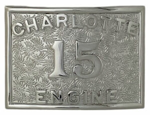 FIRE DEPARTMENT BELT BUCKLE WITH APPLIED NUMBER