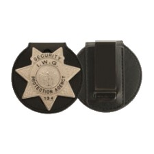 round leather badge case wallet clip