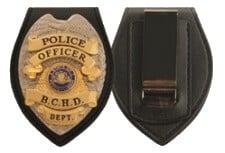 leather badge holder shield shape wallet clip