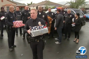 cops donate gifts to cadet and his family