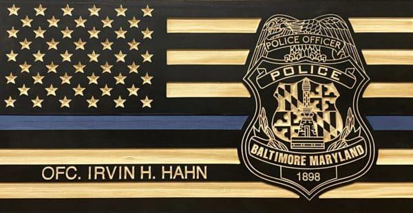 Baltimore City thin blue lineflag plaque