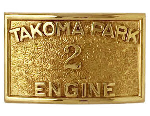 custom buckle with applied number